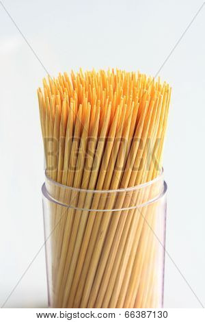 Close up of Toothpicks Isolated on White.