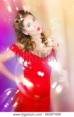 Beautiful Pin-up Girl At Retro Disco Dance Party