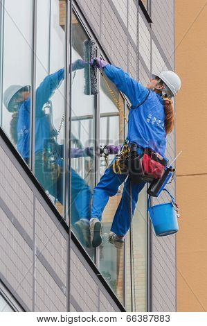 High rise window cleaner in Tokyo Japan