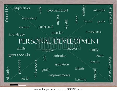 Personal Development Word Cloud Concept On A Blackboard