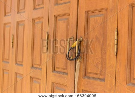 Old Chain Locked Brown Wooden Door