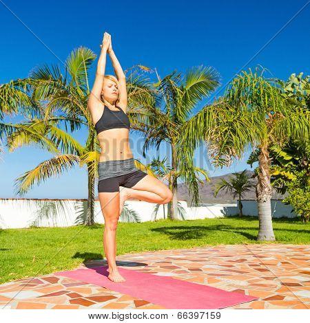 Woman Yoga Meditating Outdoors