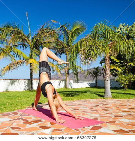 Woman Doing Yoga Beautiful Outdoors