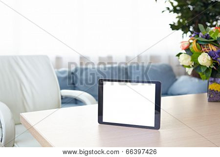 Digital tablet computer with isolated screen on office desk