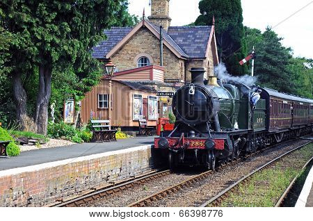 Steam train in station, Hampton Loade.