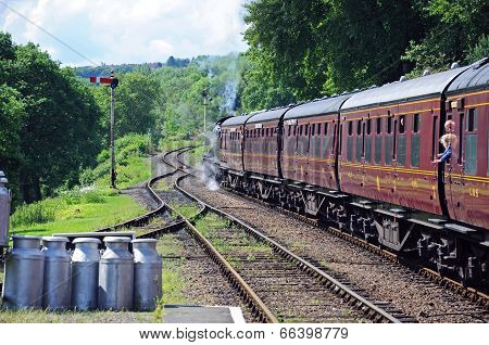 Steam train and milk churns, Hampton Loade.