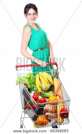 Grocery Cart Full Of Vegetables, Supermarket Trolleys, Isolated On White