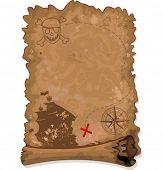 image of brigantine  - Illustration of  Pirate scroll map - JPG