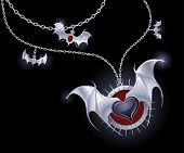 stock photo of bat wings  - silver chain with a medallion with a black heart with silver wings vampire - JPG
