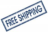 picture of shipping receiving  - Free shipping blue square grungy stamp isolated on white background - JPG