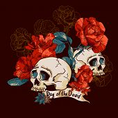 image of day dead skull  - Skull and Flowers Day of The Dead Vector Design element - JPG