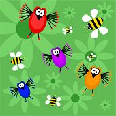 image of bee cartoon  - funky retro birds and bees background - JPG