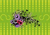 image of dessin  - a floral design in front of a green abstract background - JPG