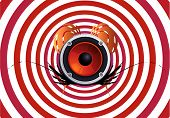 stock photo of dessin  - a speaker design in front of a hypnotizing background - JPG