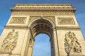 stock photo of charles de gaulle  - Arc de Triomphe at sunset in Paris France - JPG