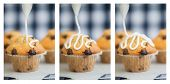 stock photo of triptych  - Triptych of home made chocolate chip muffins with icing frosting being applied - JPG