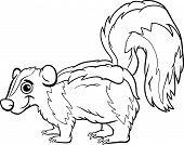 stock photo of skunks  - Black and White Cartoon Illustration of Cute Skunk Animal for Coloring Book - JPG