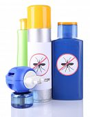 stock photo of mosquito repellent  - Bottles with mosquito repellent cream and fumigator - JPG