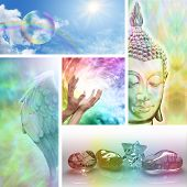 stock photo of cosmic  - Five aspects of holistic healing including meditation - JPG