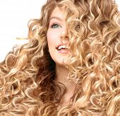 picture of perm  - Beauty girl with blonde curly hair - JPG