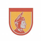 stock photo of indian chief  - Metallic styled illustration of a native american indian chief sideview with headdress set inside shield crest on isolated background - JPG