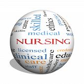 pic of rn  - Nursing 3D sphere Word Cloud Concept with great terms such as licensed skills caring and more - JPG