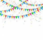 stock photo of confetti  - Festive background with colored flags and confetti - JPG