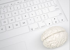stock photo of qwerty  - White brain on the keyboard - JPG