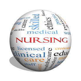 stock photo of rn  - Nursing 3D sphere Word Cloud Concept with great terms such as licensed skills caring and more - JPG