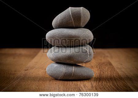 Stones On Wood