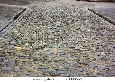 Old Cobbled Road In Lviv, Ukraine