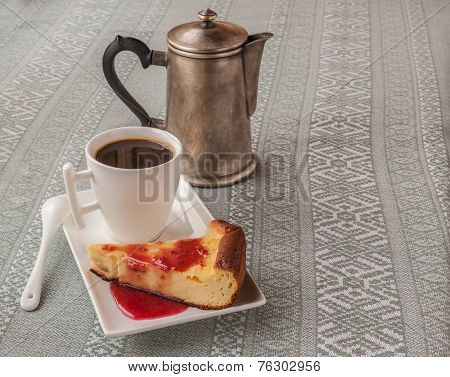 Cup Of Coffee And Cheese Baked Pudding With Jam
