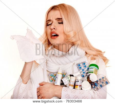 Sniffle woman with handkerchief having  cold. Isolated.