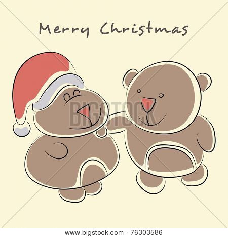 Merry Christmas celebrations, cute teddy bear in Santa cap wishing on yellow background.