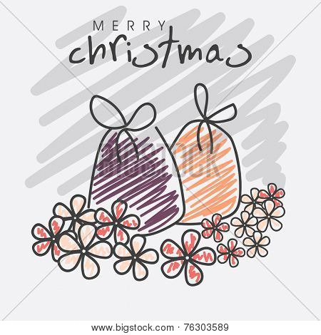 Colorful Jingle bells with beautiful flowers on stylish background for Christmas and other occasion celebrations.