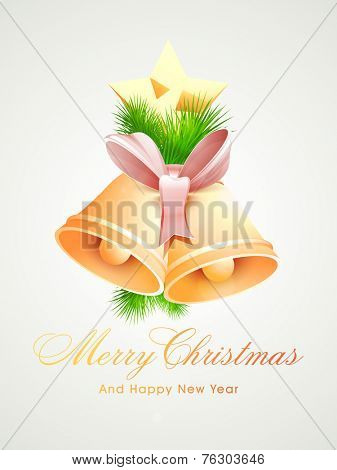Merry Christmas and Happy New Year greeting card design decorated with beautiful jingle bells, fir trees and star on grey background.