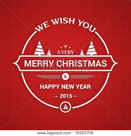 Poster, banner or invitation card for Merry Christmas and Happy New Year celebration  on seamless red background.