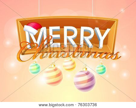 Merry Christmas celebration poster, banner or flyer with stylish text and hanging X-mas Ball on shiny background.