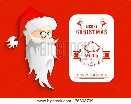 Greeting or invitation card for Merry Christmas and Happy New Year 2015 celebration with cute Santa face on red background.