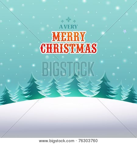 Beautiful winter nature view background for Merry Christmas celebration.