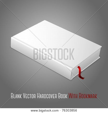 Realistic white blank hardcover book with red bookmark. Isolated on grey background for design and b