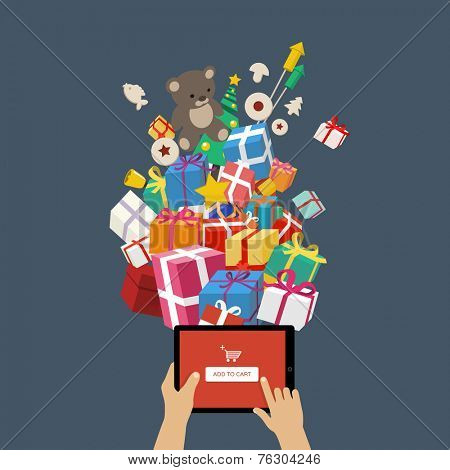 Ordering christmas gifts online - man hands holding tablet mobile device with add to cart button - online shopping concept