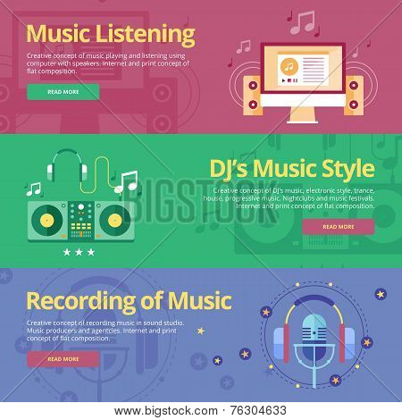 Set of flat design concepts for music listening, dj's music style, recording. Concepts for web banne