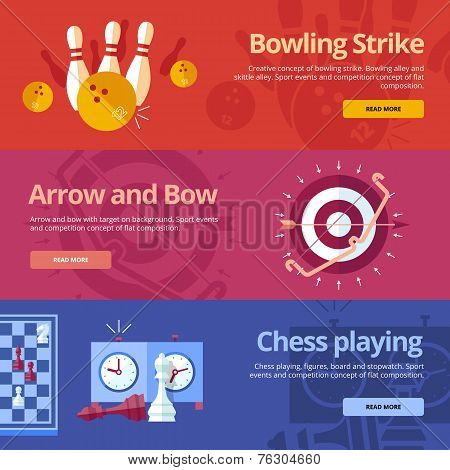 Set of flat design concepts for bowling strike, arrow and bow, chess playing. Concepts for web banne