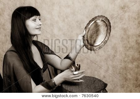 Beautiful Woman   And Silver Wineglass
