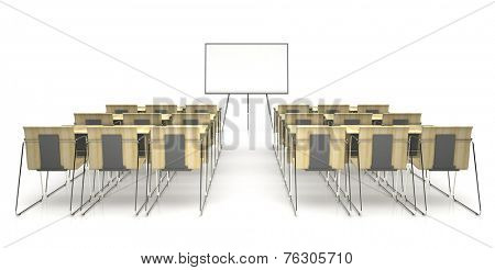 Classroom with wooden desk  isolated on white background 3D rendering
