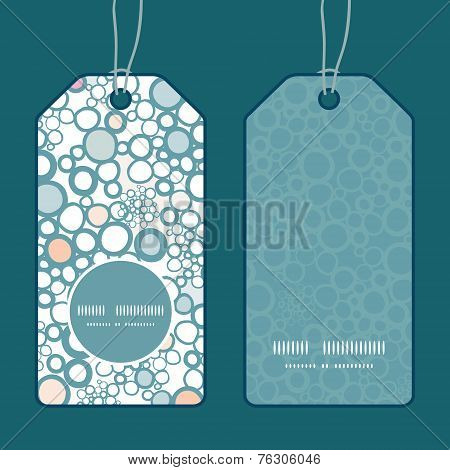 Vector colorful bubbles vertical round frame pattern tags set
