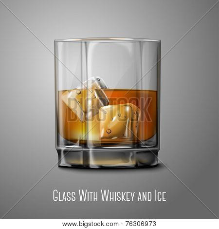 Realistic Vector glass with smokey Scotch Whiskey and ice isolated. Transparent - for every backgrou