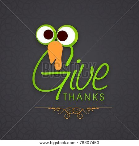 Happy Thanksgiving Day celebrations with turkey bird and stylish text on grey background.