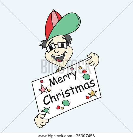 Cartoon of a man holding Merry Christmas board decorated with stylish text and star on blue background.